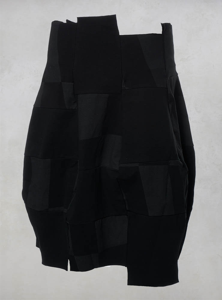 Patchwork Midi Skirt with Raw Edges in Black Big Check