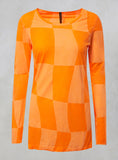 Long Sleeved Neon T Shirt in Orange Big Check