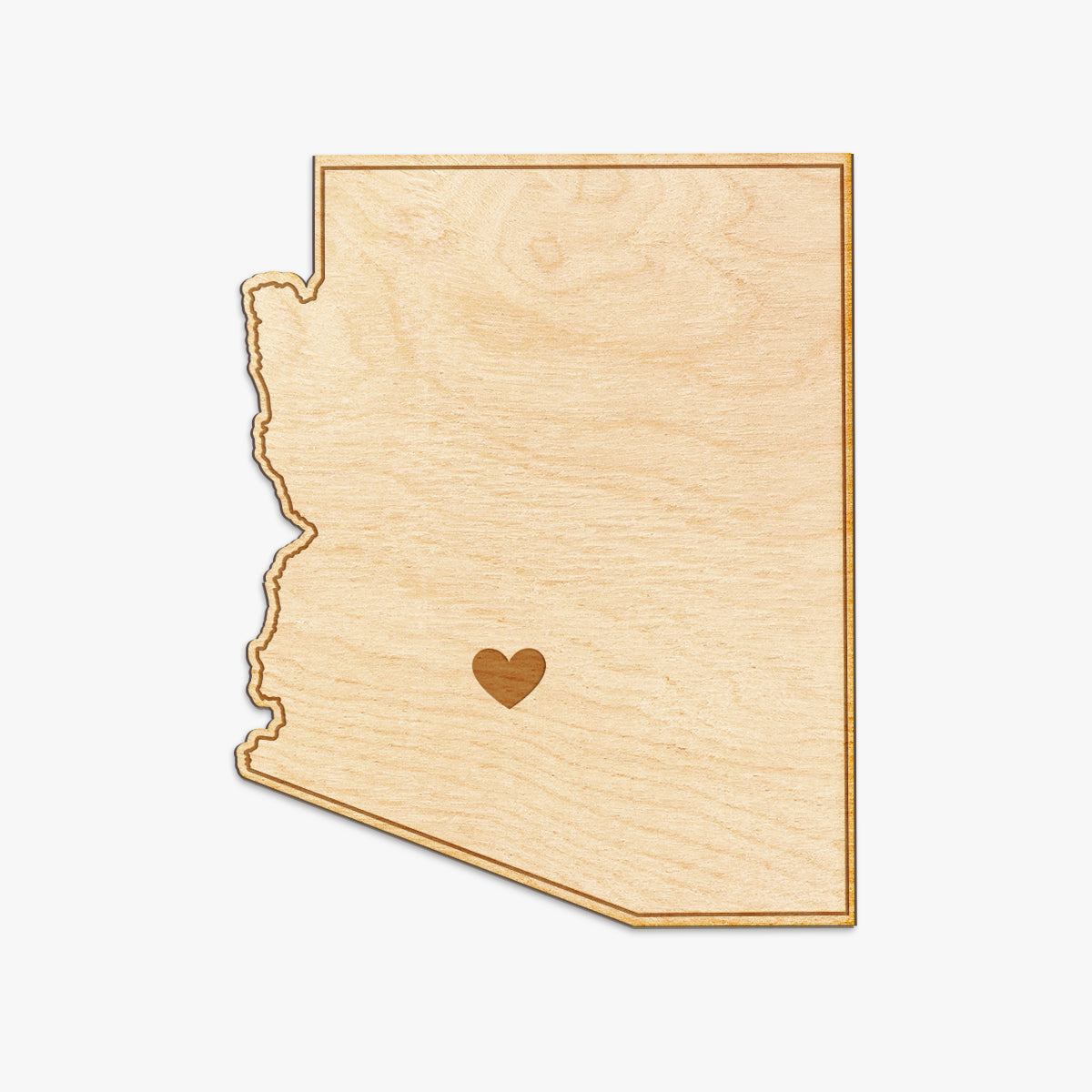 Arizona Cut Sign With Custom Engraved Heart Placement
