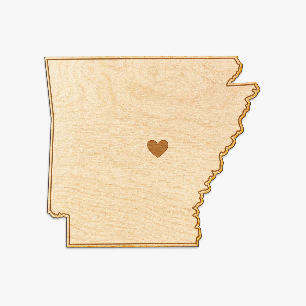 Arkansas Cut Sign With Custom Engraved Heart Placement