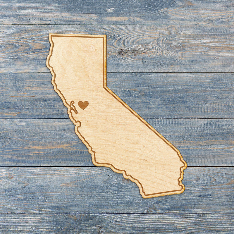California Cut Sign With Custom Engraved Heart Placement