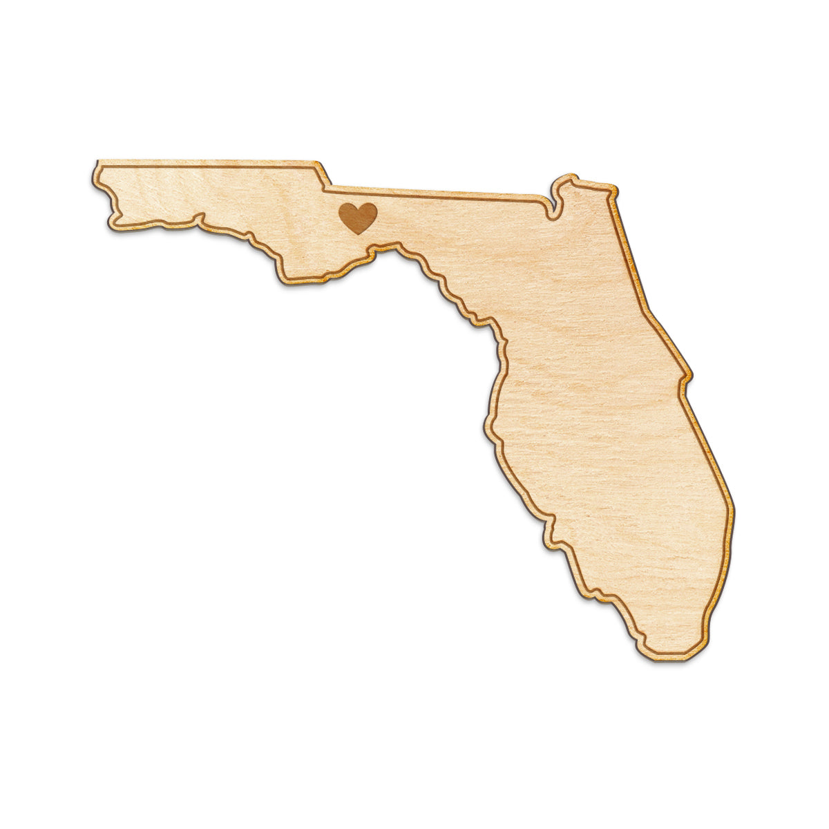 Florida Cut Sign With Custom Engraved Heart Placement