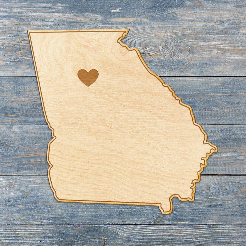 Georgia Cut Sign With Custom Engraved Heart Placement