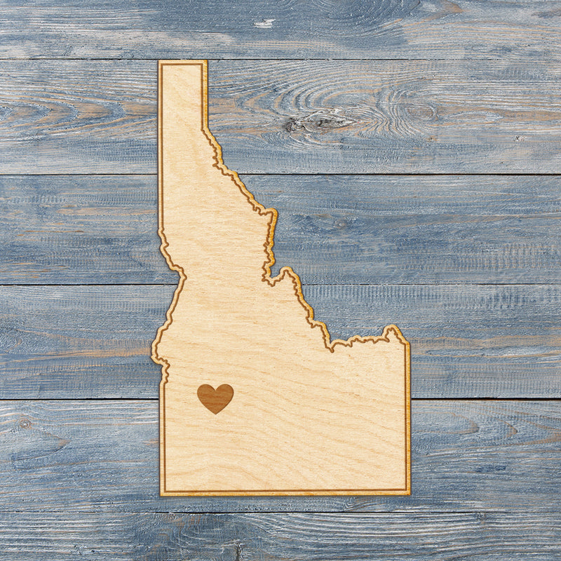 Idaho Cut Sign With Custom Engraved Heart Placement