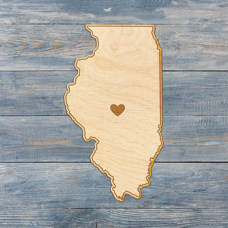 Illinois Cut Sign With Custom Engraved Heart Placement