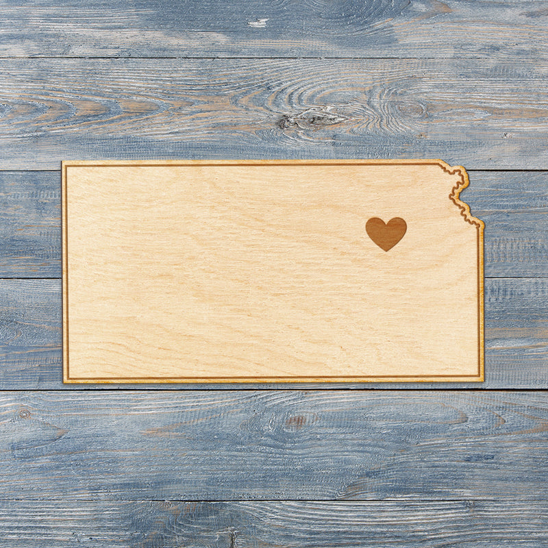 Kansas Cut Sign With Custom Engraved Heart Placement