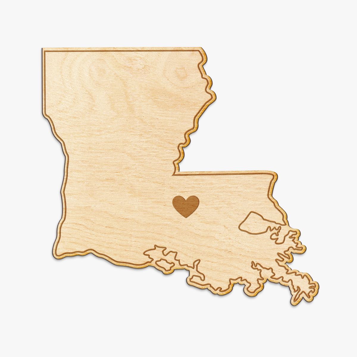 Louisiana Cut Sign With Custom Engraved Heart Placement