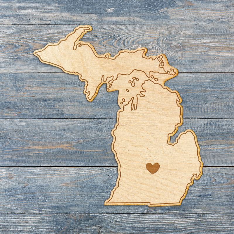 Michigan Cut Sign With Custom Engraved Heart Placement