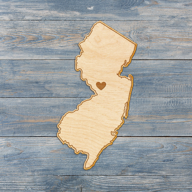 New Jersey Cut Sign With Custom Engraved Heart Placement
