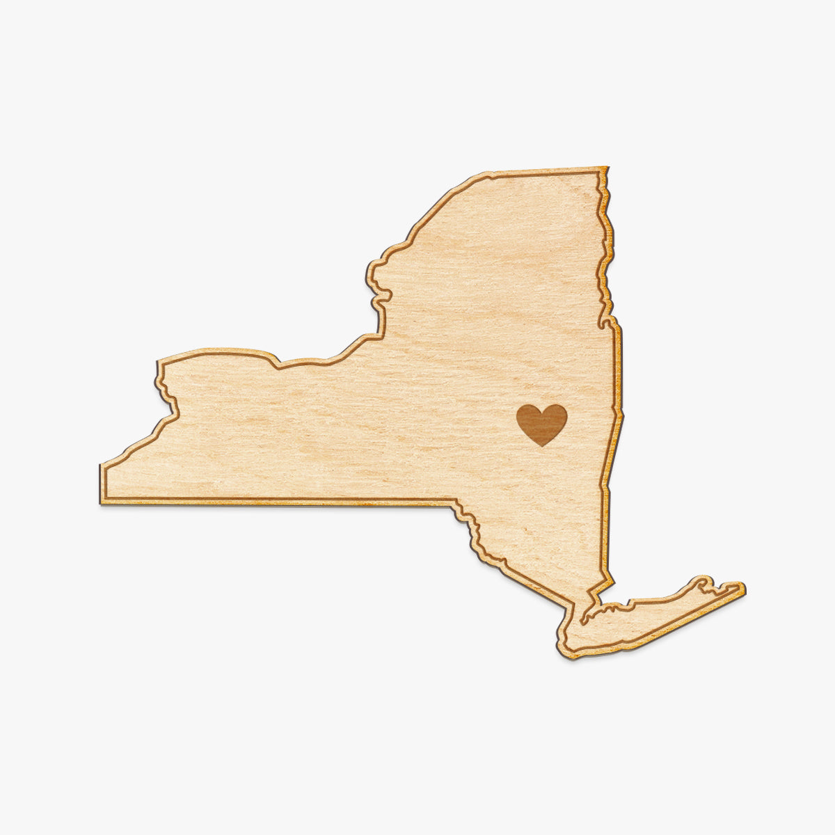 New York Cut Sign With Custom Engraved Heart Placement