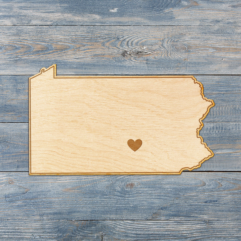 Pennsylvania Cut Sign With Custom Engraved Heart Placement
