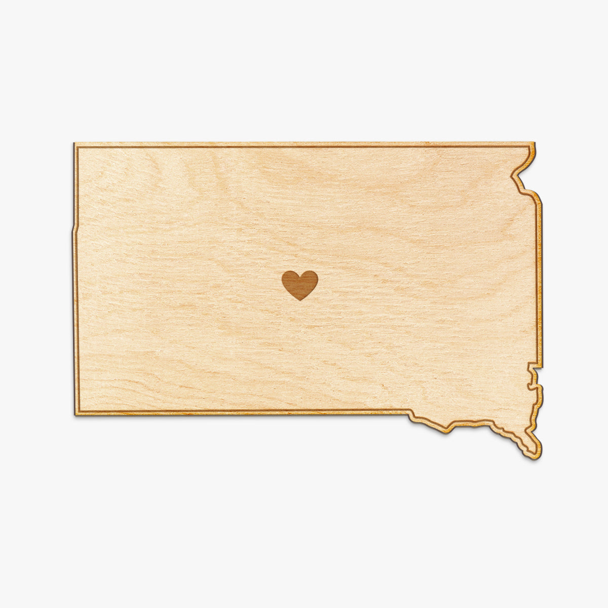 South Dakota Cut Sign With Custom Engraved Heart Placement