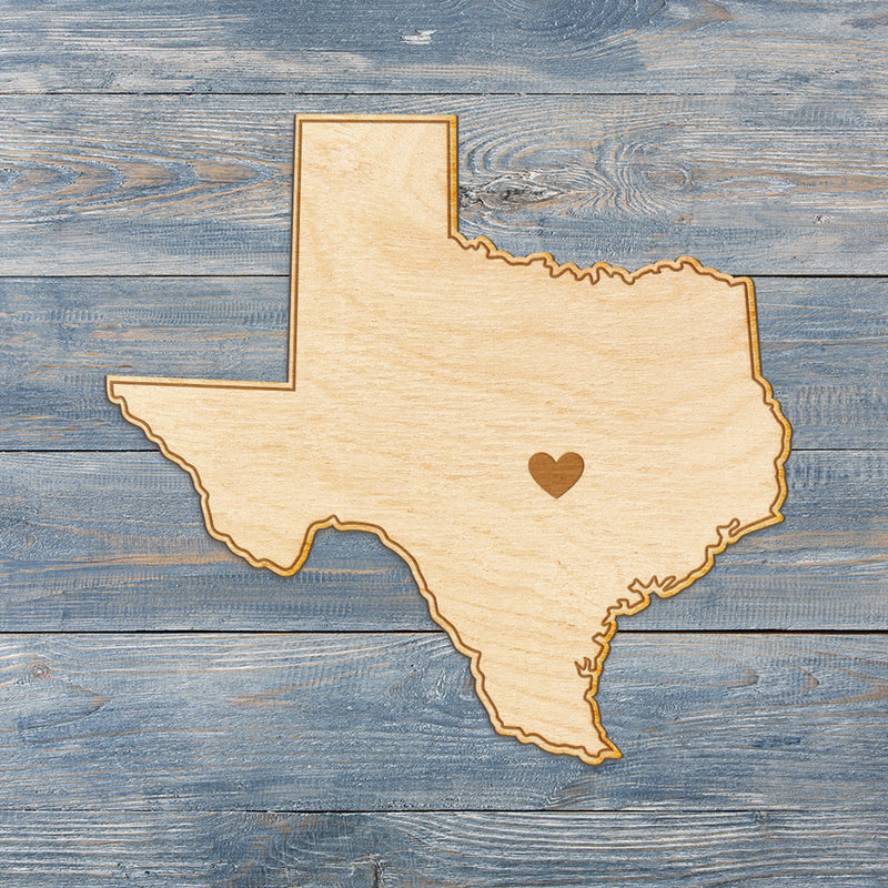 Texas Cut Sign With Custom Engraved Heart Placement
