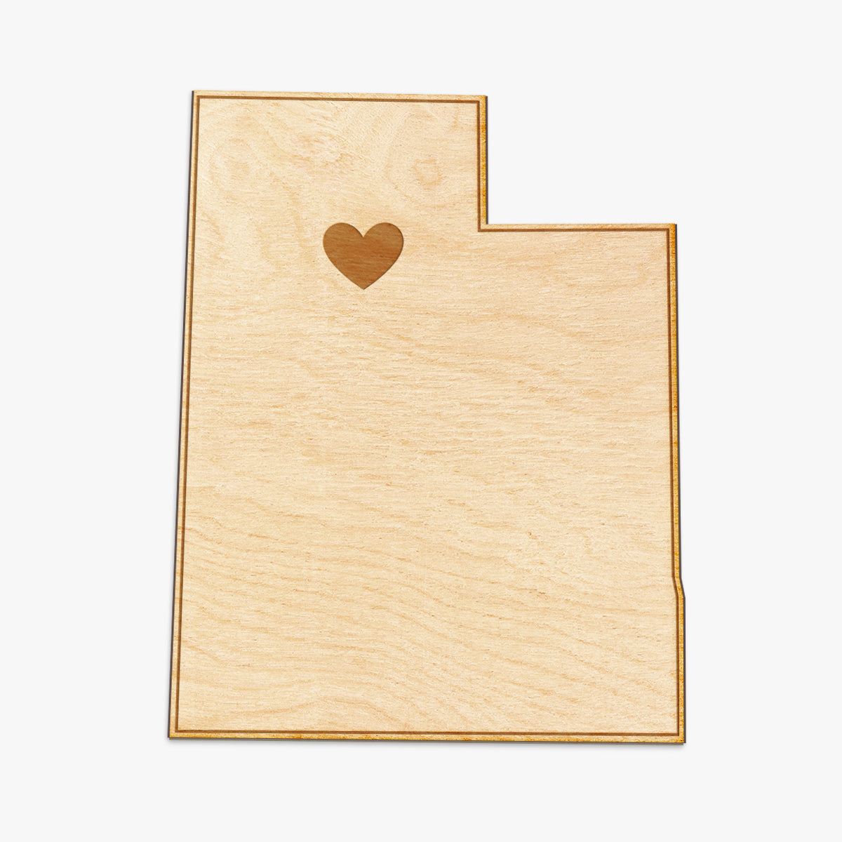 Utah Cut Sign With Custom Engraved Heart Placement