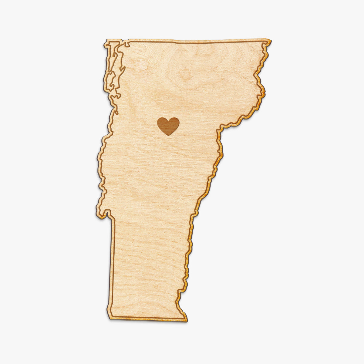 Vermont Cut Sign With Custom Engraved Heart Placement
