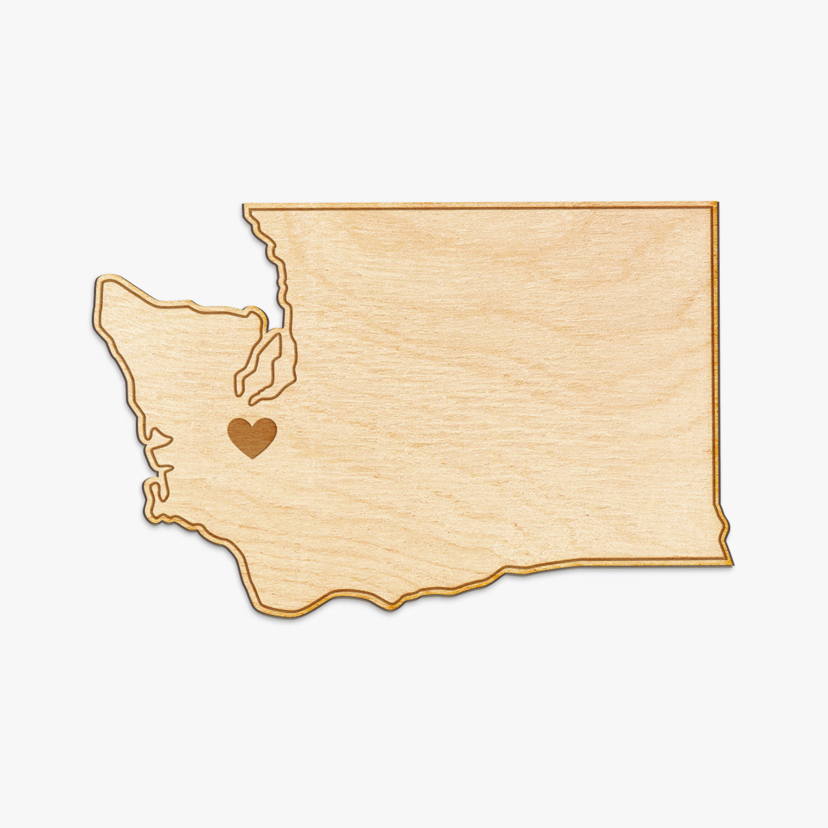 Washington Cut Sign With Custom Engraved Heart Placement