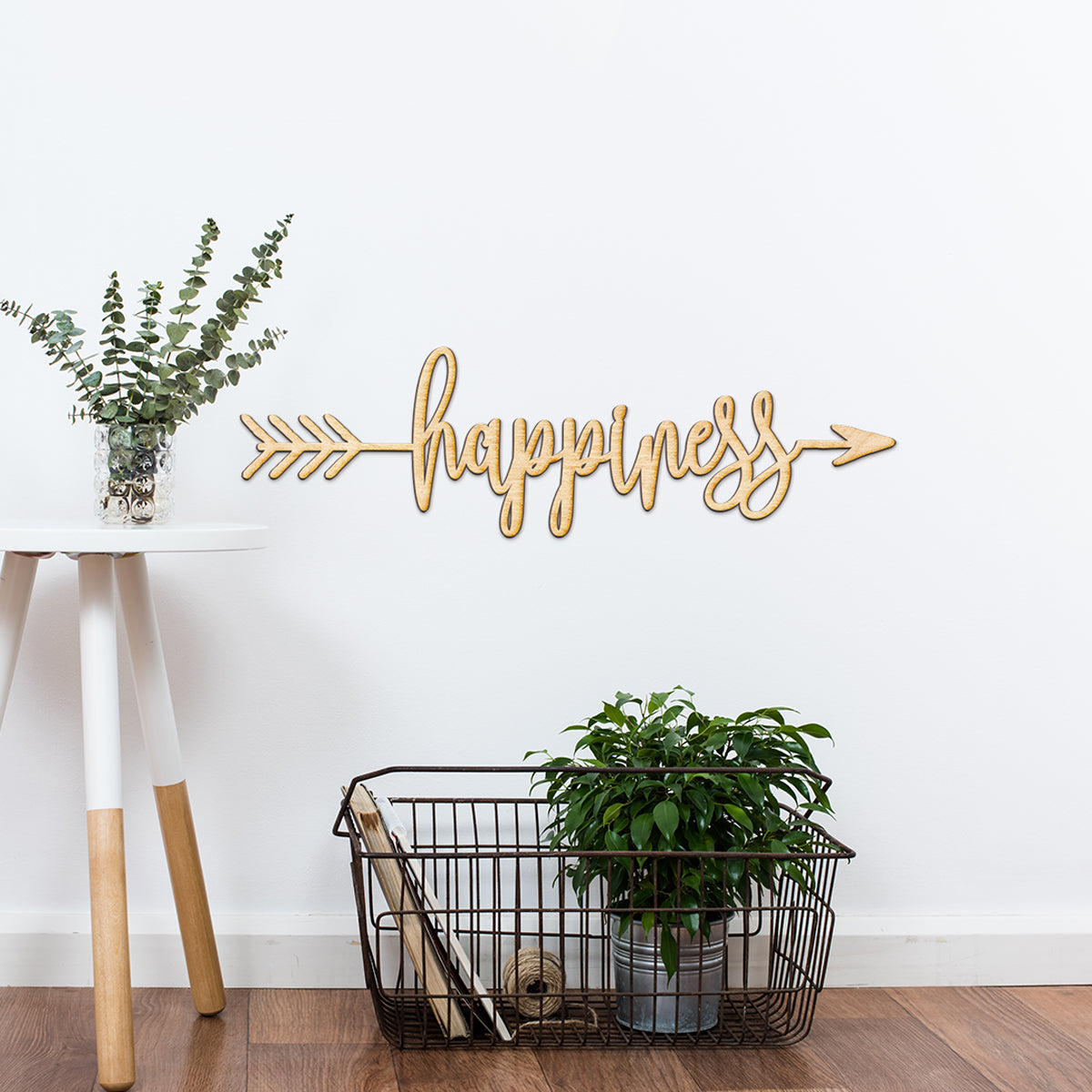 Happiness Arrow Wood Sign