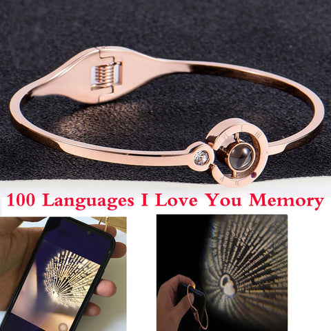 100 languages I love you Projection Pendant Necklace Romantic Round Heart Love Memory Wedding Necklace Rose Gold Silver