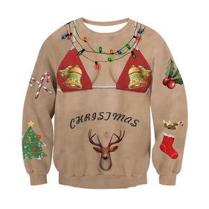Hairy Chest 3D Ugly Christmas Sweatshirt