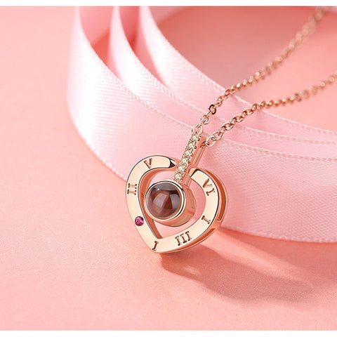 Image of 100 languages I love you Projection Pendant Necklace Romantic Round Heart Love Memory Wedding Necklace Rose Gold & Silver Gold Valentines Day Gift Bestseller