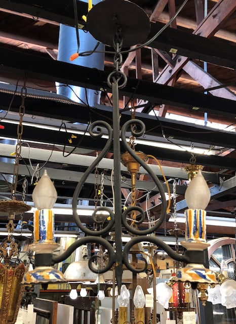 Iron Spanish Revival Pendant with Ceramic Candle Holders [jan16-4]
