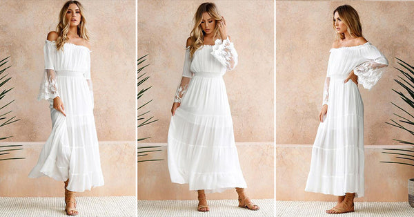 Lace Patchwork Pleated Party White Dress