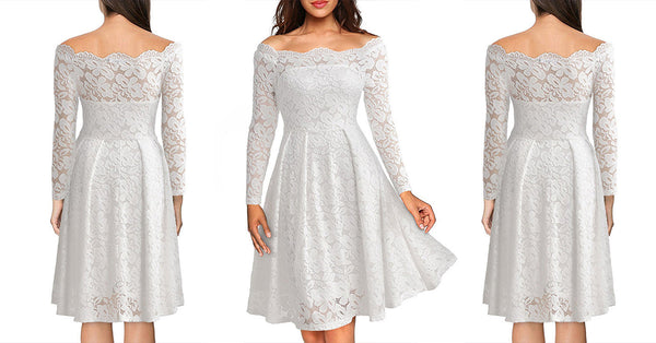Embroidery Vintage White Lace Dresses