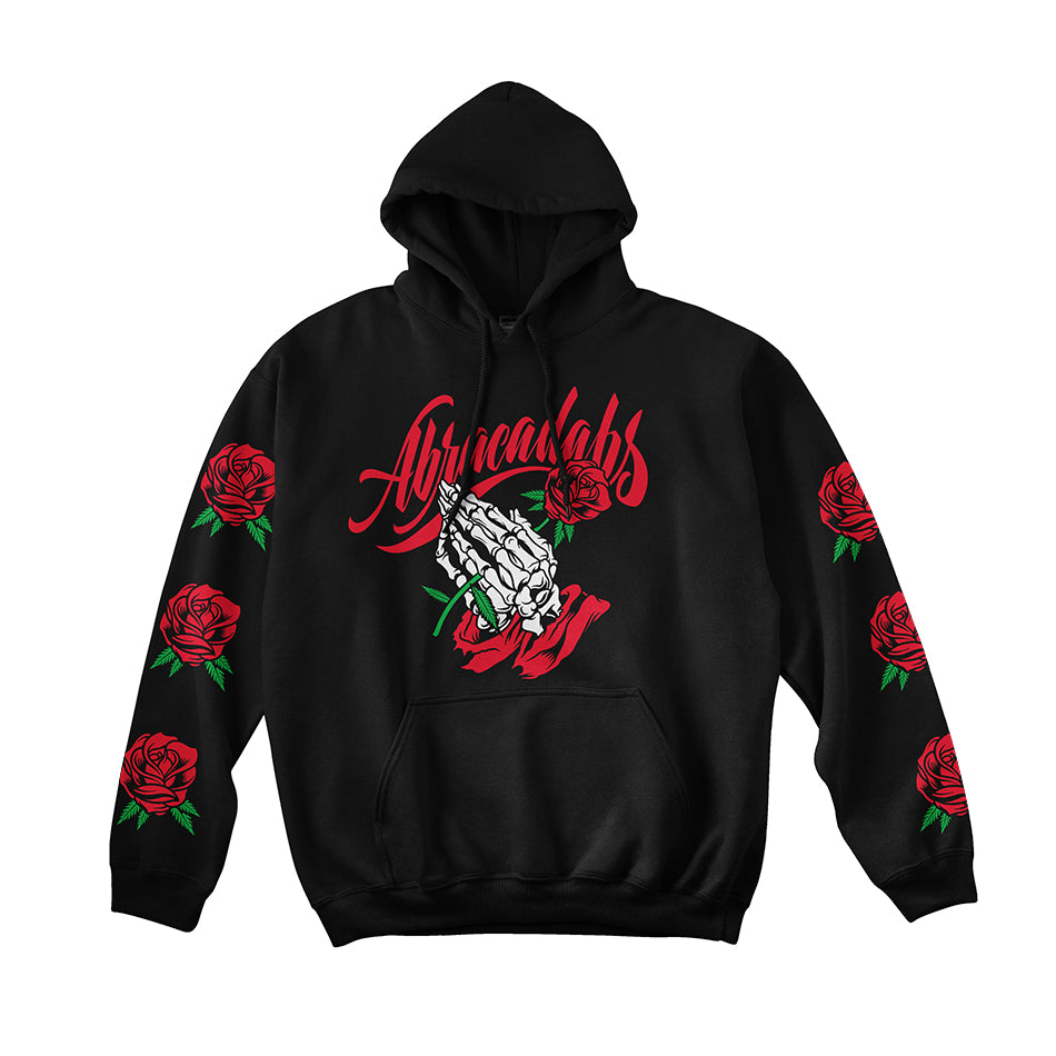 Abracadabs Rose Praying Skull Hands Black Hoodie