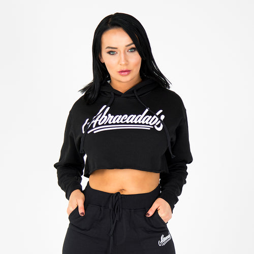 WOMEN'S ACD CROPPED FLEECE HOODIE / BLACK