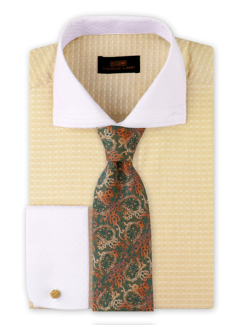 Dress Shirt | DW1909 | Classic Fit | 100% Cotton | Wide Spread Collar | French Round Cuff | Yellow