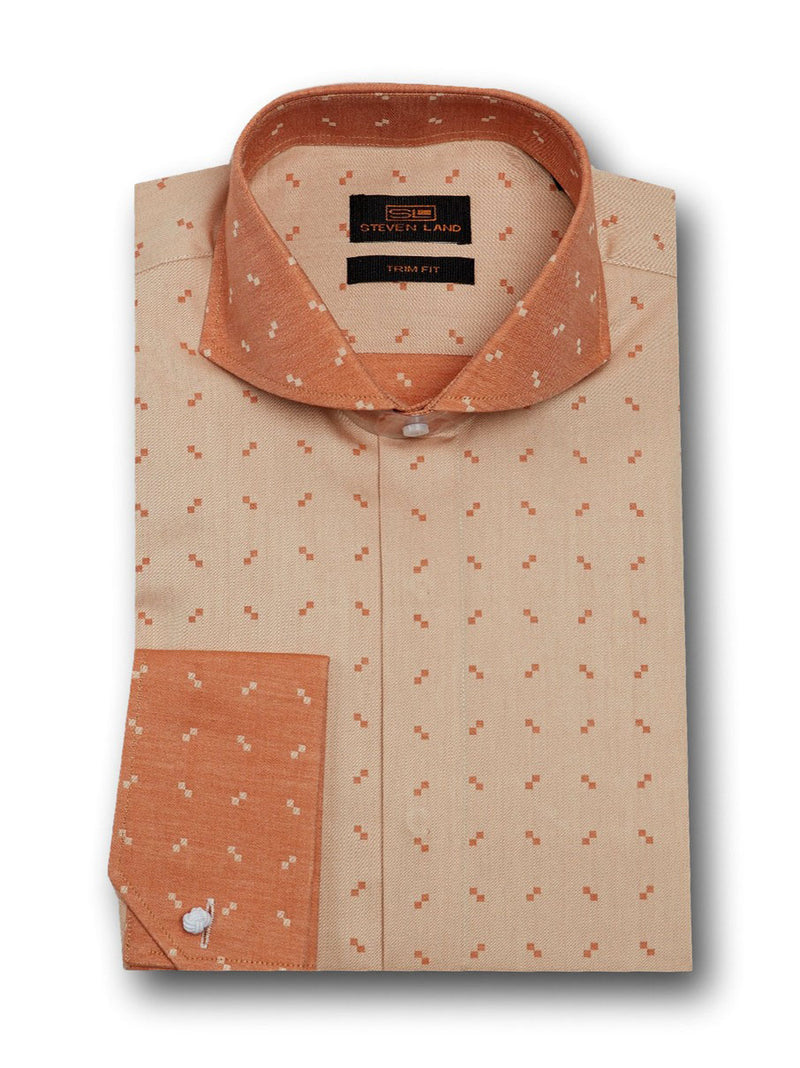 Dress Shirt | TW1714 | Classic Fit | 100% Cotton | Wide Spread Collar | Angled French Cuff | Brown