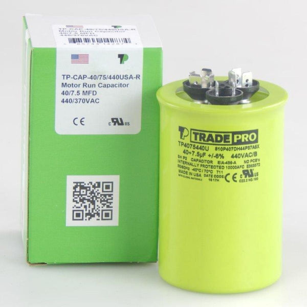 TRADEPRO - TP-CAP-40/7.5/440USA-R 40/7.5 MFD 440/370V Round Capacitor (Made in USA)