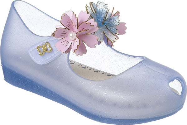 World Colors Blue Jelly shoe with Flowers - Ribbon and Blues