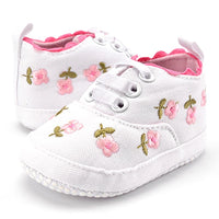 White Lace Floral Embroidered Soft Shoes - Ribbon and Blues