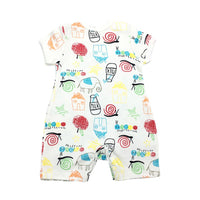 Baby Romper with Sweet Drawings - Ribbon and Blues