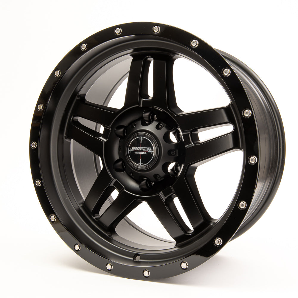 SNIPER WHEELS SW223 18 x 9, 6x139.7, +10 Matt Black with Gloss Black Lip set of 4pcs including caps. Flow Formed