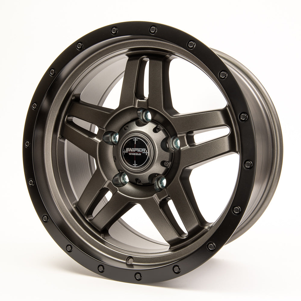 SNIPER WHEELS SW223 18 x 9, 6x139.7, +20 Matt Gun Metallic with Black Lip set of 4pcs including caps. Flow Formed
