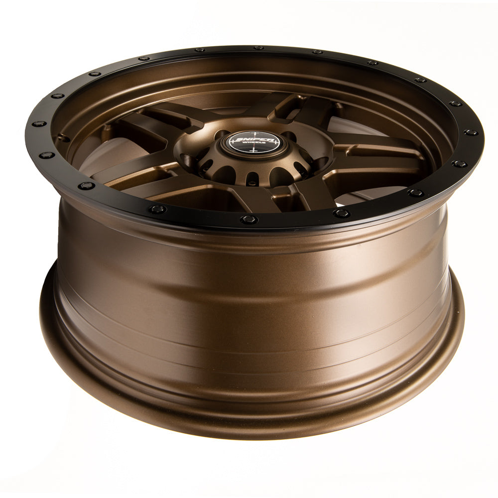 SNIPER WHEELS SW223 18 x 9, 6x139.7, +20 Matt Bronze with Black Lip set of 4pcs including caps. Flow Formed