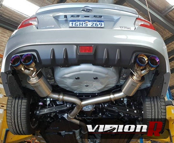 "Unknown Performance V2 Cat back Exhaust system. Full 3"" piping, 4"" Dual Burnt single wall Tips."