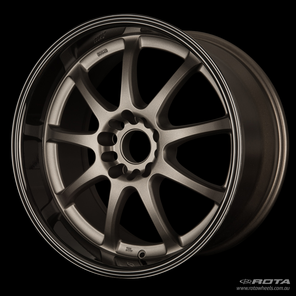 ROTA P1R 18 x 9.5, 5x114.3 +27 Matt Gun Metallic / Gloss Black Lip