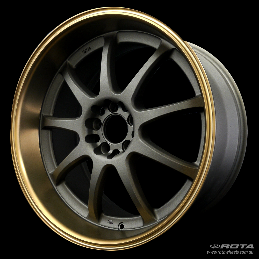 ROTA P1R 18 x 9.5, 5x100 +38 Matt Gun Metallic / Bronze Lip
