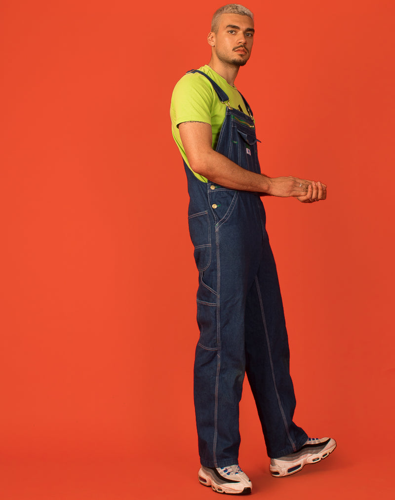 GREEN DETAILED BLUE DENIM DUNGAREES