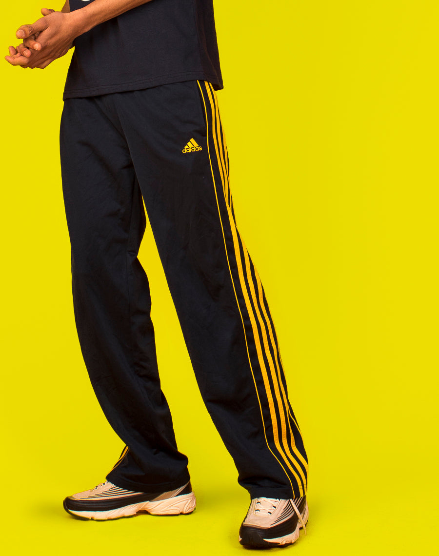 NAVY AND YELLOW ADIDAS JOGGERS