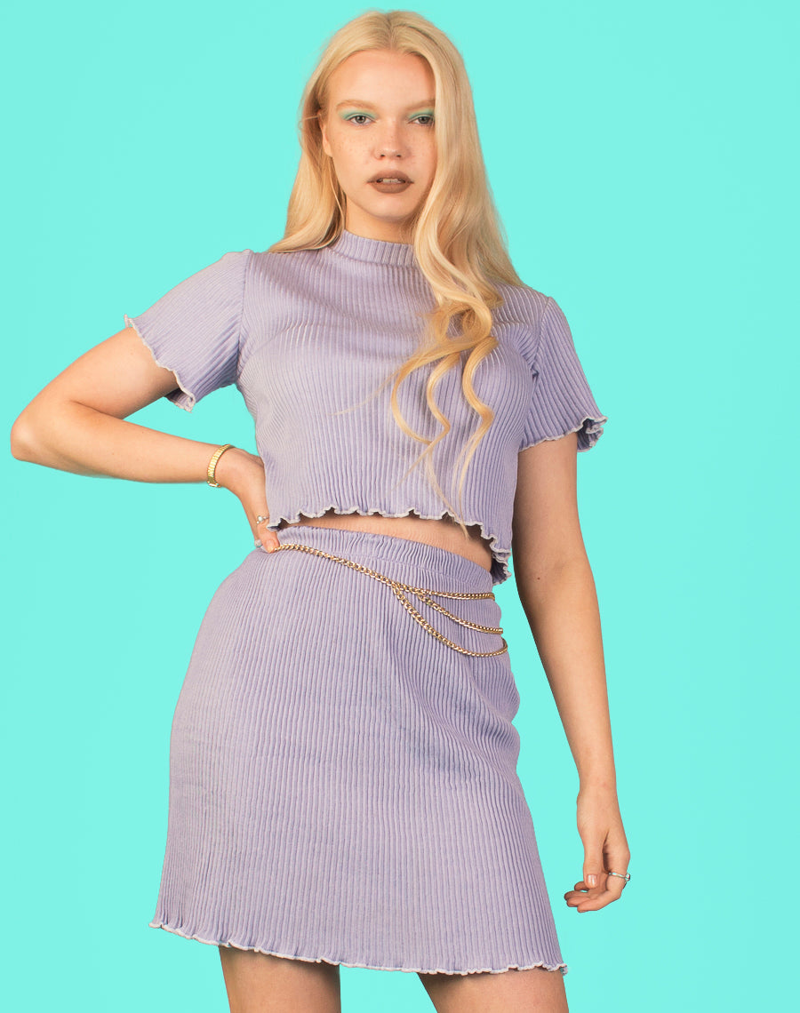 LILAC LETTUCE TRIM TWIN SET