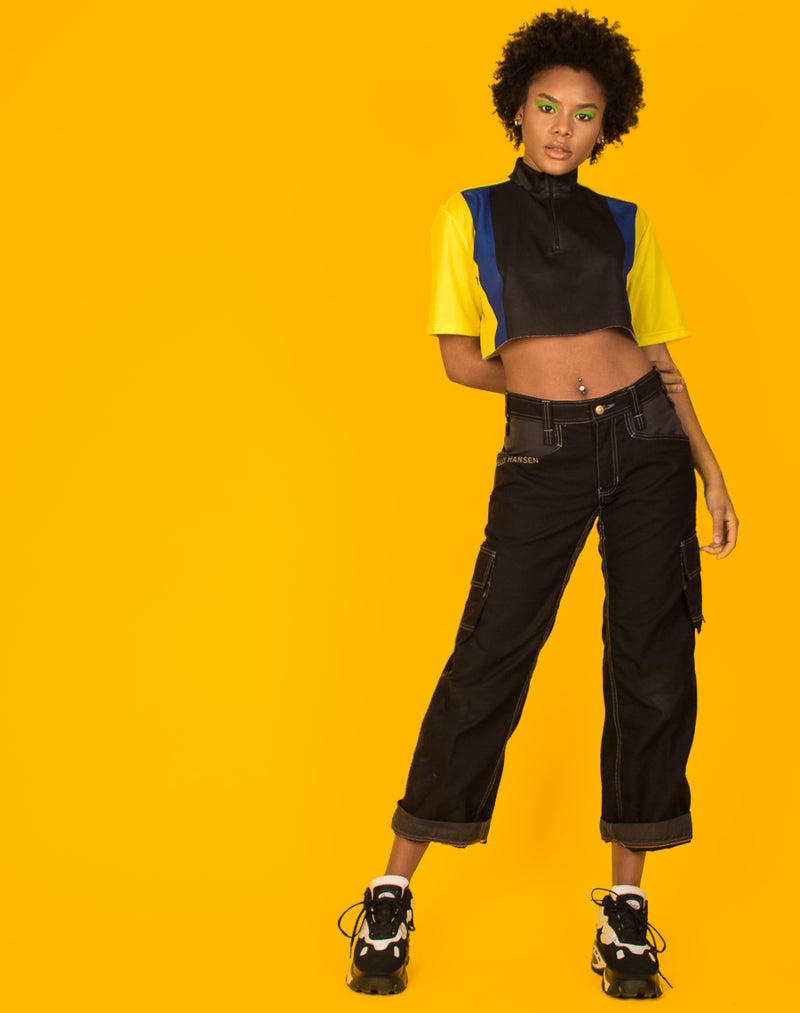 BLACK AND YELLOW CROPPED RACER TOP