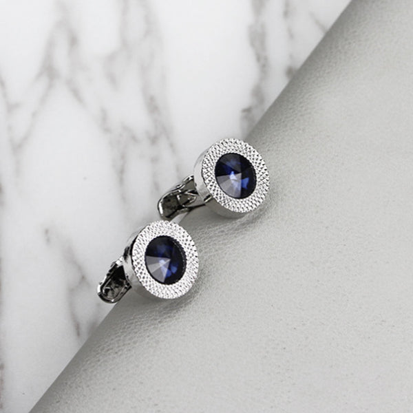 NEW high-end fashion men's shirts Cufflinks Luxury Design Silver Round Blue Crystal Cufflinks Women's clothing accessories