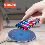 Suntaiho Wireless Charger for iPhone X XS MAX QI 10W Jeans Fast Charging Pad for Huawei mate 20 pro For Samsung Galaxy S7/S8/S9
