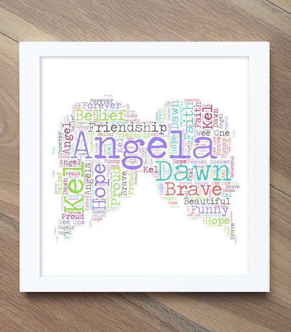 angel wing word art print