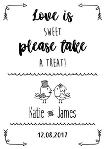 A little treat for your dancing feet wedding sign print