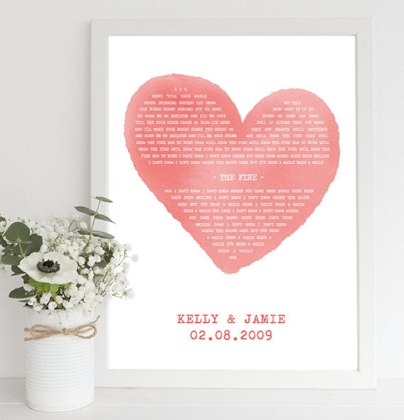 framed song lyrics print